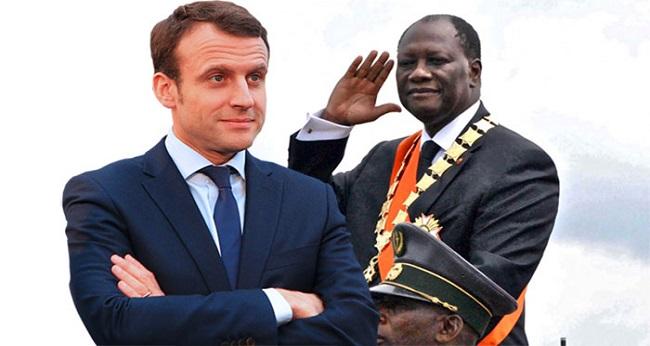 président Macron, image grid avec Ouattara