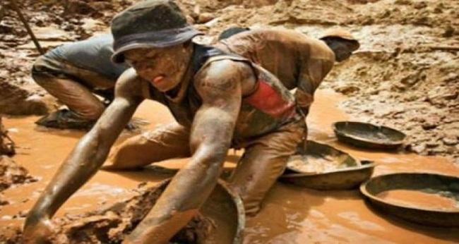 orpailleurs clandestins travaillant dans une mine